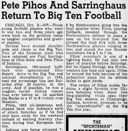 Pete Pihos And Sarringhaus Return To Big Ten Football -