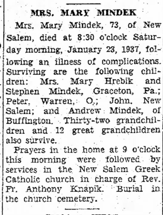 Mike's grandmother The evening standard Uniontown PA 1/25/1937 -