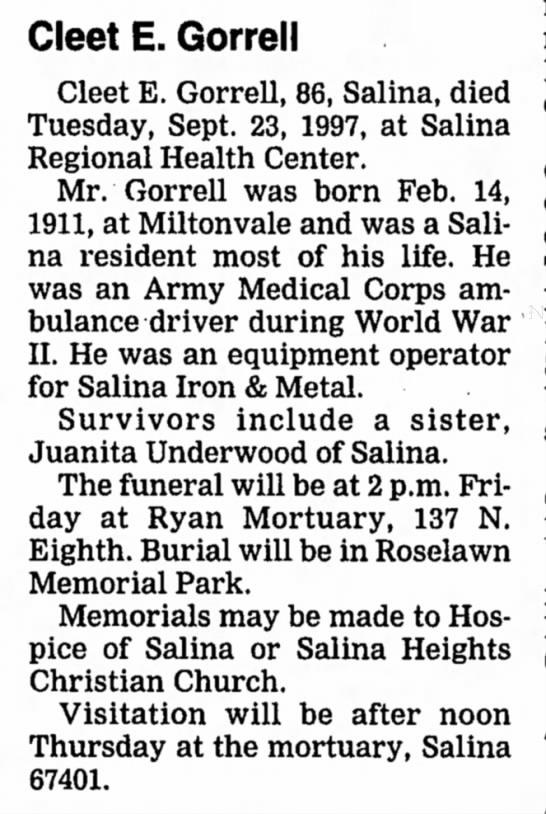 Cleet E. Gorrell Obituary The Salina Journal 25 Sept 1997 Page 5 -