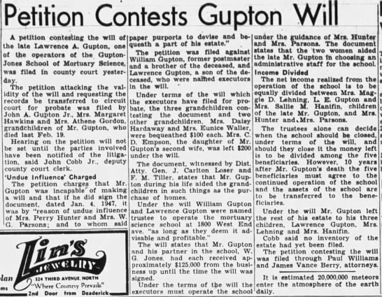 LA Gupton Will Contested-The Tennessean 12-8-1948 -