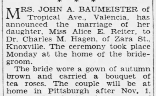 Reiter, Alice E. Baumeister, marriage, The Pittsburgh Press, 24 Sept 1936, p. 25 -