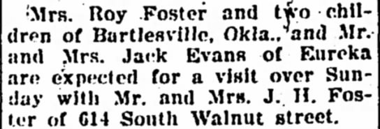 rc foster - •-Mrs. Roy Foster and two children of...