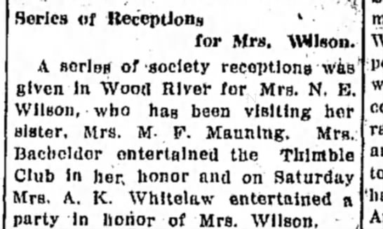 Mrs M F Manning and Mrs Wilson - Series of Receptions l •. for Mrs. WHson A...