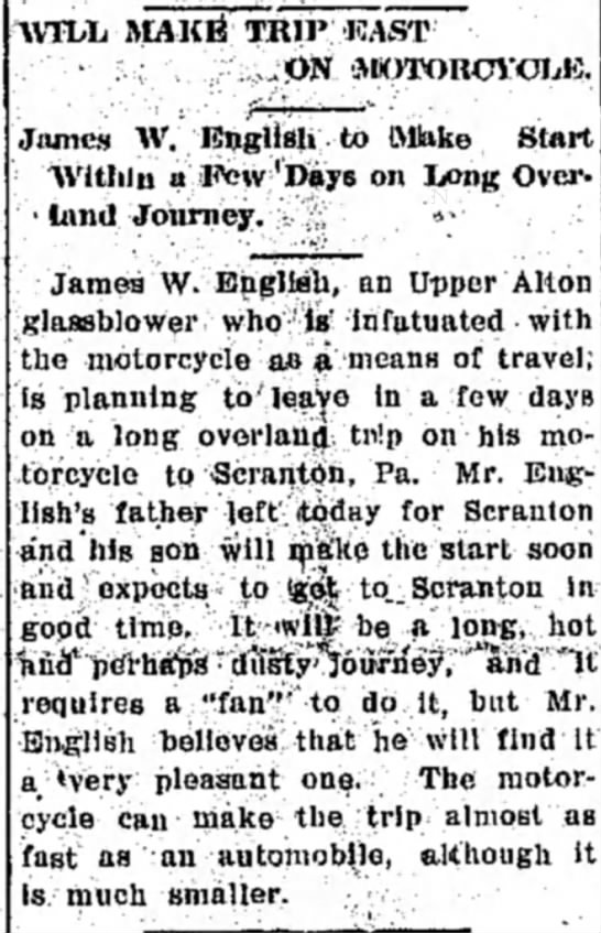 James W English Motorcycle Trip Newspaperscom