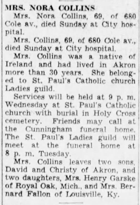 Nora O Donovan Collins Obit 11 Jul 1949