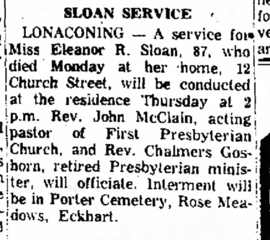 Funeral Announcement for Eleanor R. Sloan -