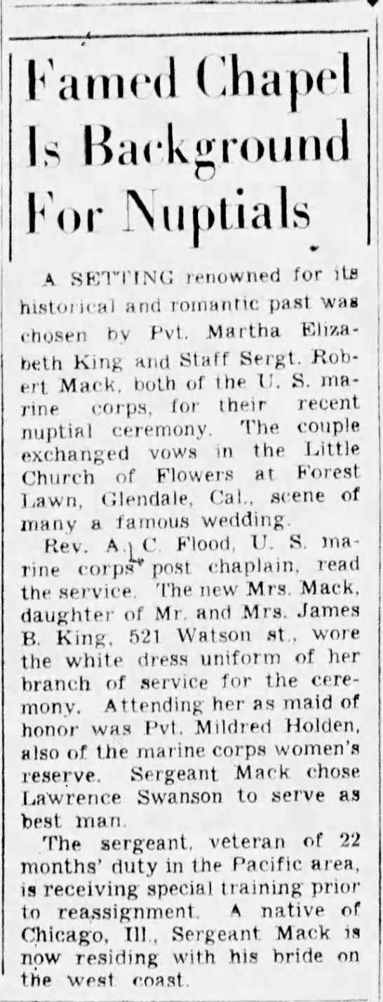 Martha Elizabeth King - Wedding Announcement - Famed Chapel Is Background For Nuptials A...