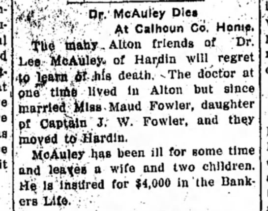 Dr. Lee dies Alton Eve Tel 2-22-1912 -
