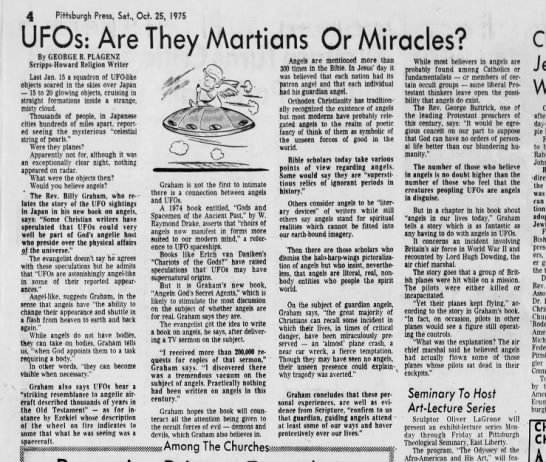 Billy Graham proposes that UFOs might be angels in Angels: God's Secret Agents 1975 -