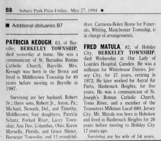 OBIT-Patricia Keough (Robt's wife); APP, 27 May 1994; Pg. B8, Cols 1-2 -