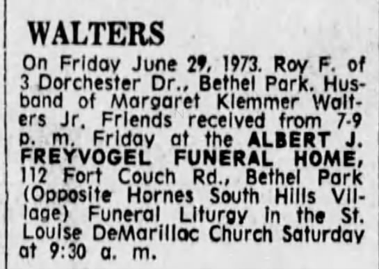 1973 June 29th - Roy F. Walters Sr. Obit Pittsburgh, PA -
