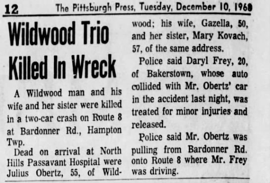 Julius Obertz car accident - Newspapers com