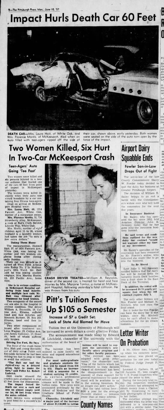 Florence Klein Moritz fatal car accident - Newspapers com