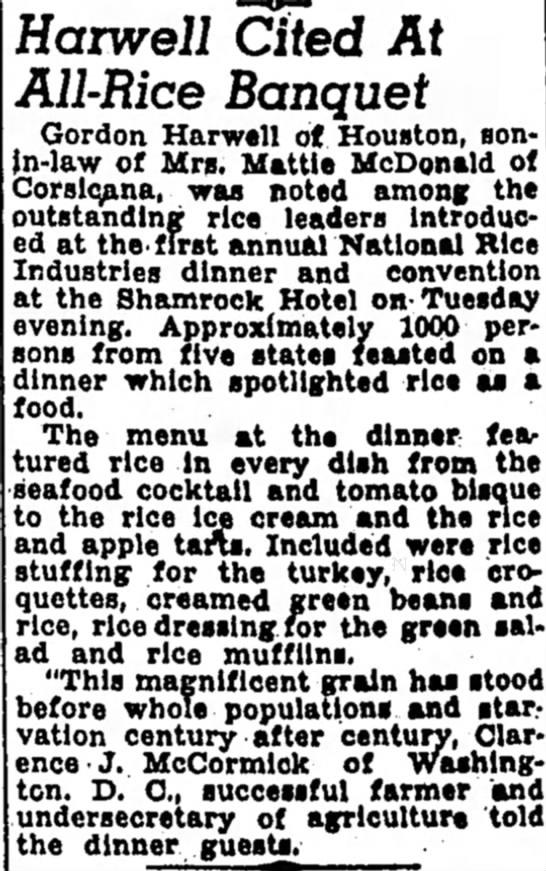 Gordon Harwell Banquet -