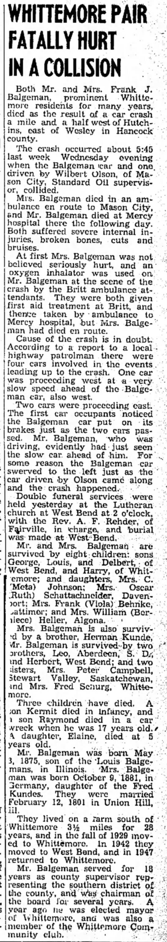 Mrs FJ Balgeman car accident