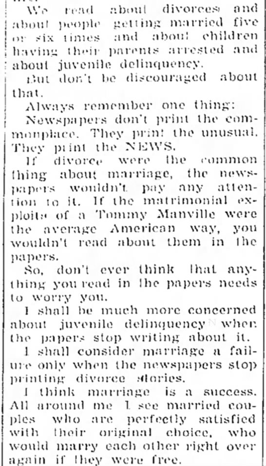 what newspapers print, divorce, marriage -