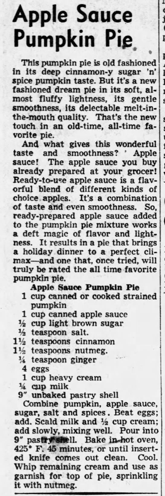 1951 recipe for Apple Sauce Pumpkin Pie with heavy cream -