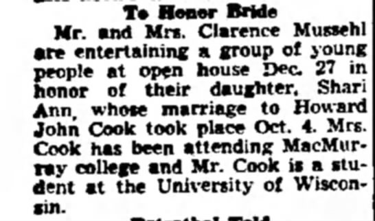Mussehl-Cook wedding reception Janesville Daily Gazette Dec 20, 1947 -
