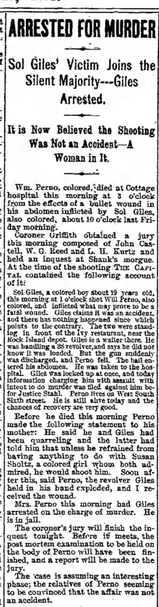 Sol Giles arrest 1892 -
