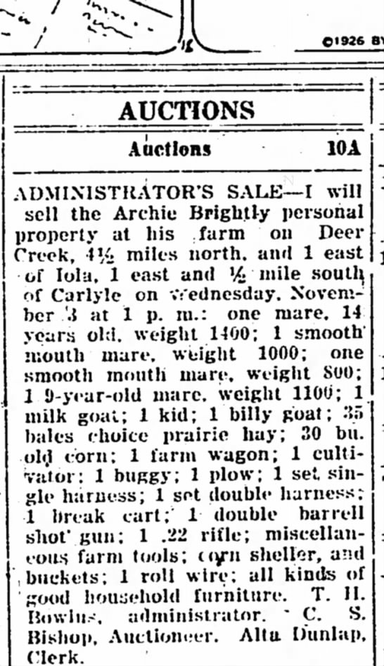 Auction and Listing of Archie Brightly's property -