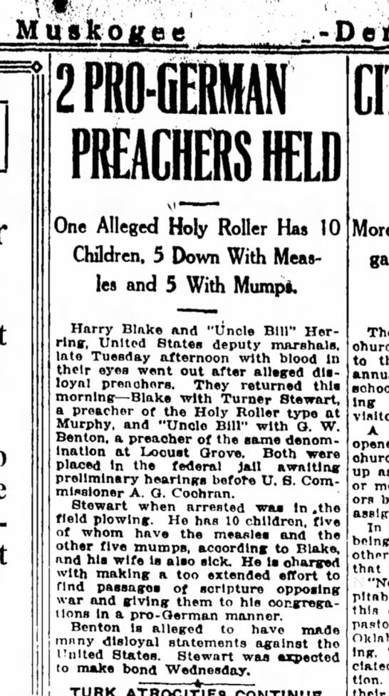 2 Pro German Preachers Held, Muskogee County Democrat, OK, 28 Mar 1918 -