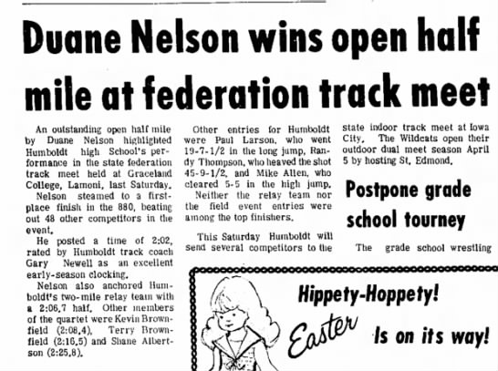March 22, 1972 State Federation Track Meet Senior Year 880 -
