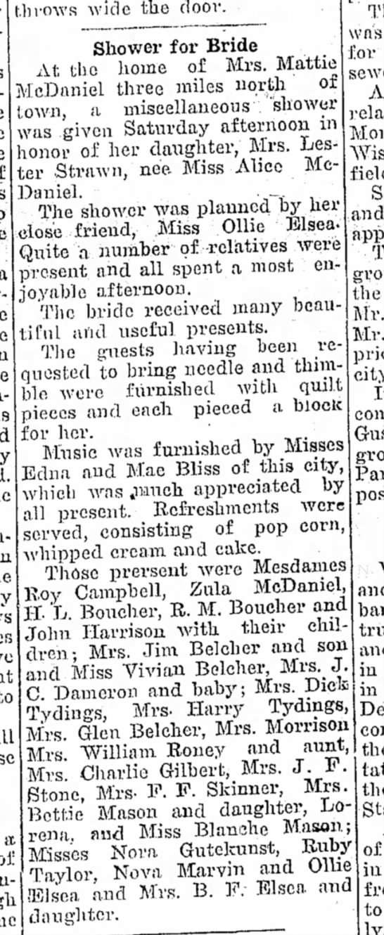 Alice McDaniel bridal shower - Moberly Weekly Monitor 7 Nov 1913 p3 - throws wide the door. Shower for Bride At the...