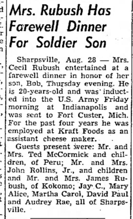John Rollins Jr Family - Mrs. Rubush Has Farewell Dinner For Soldier Son...
