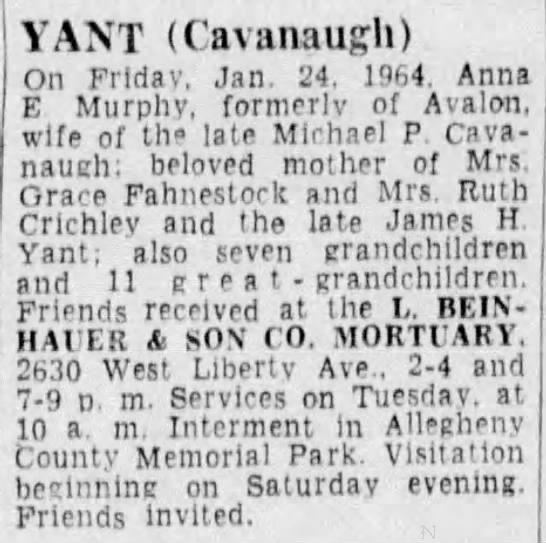 Obituary: Anna (Murphy) Yant Cavanaugh -