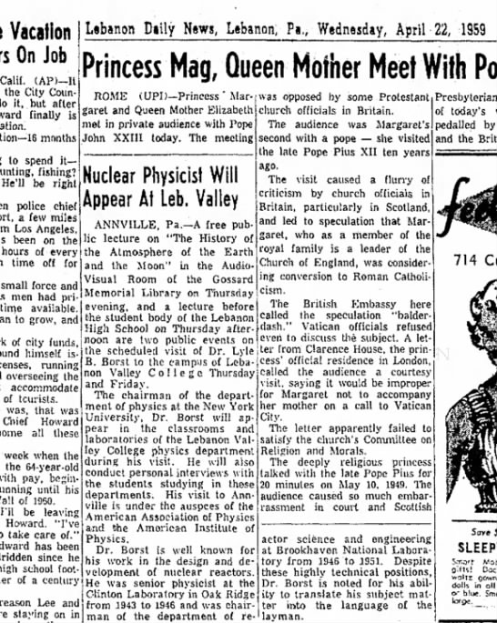 1959 April 22 Nuclear Physicist Appears at LVC -