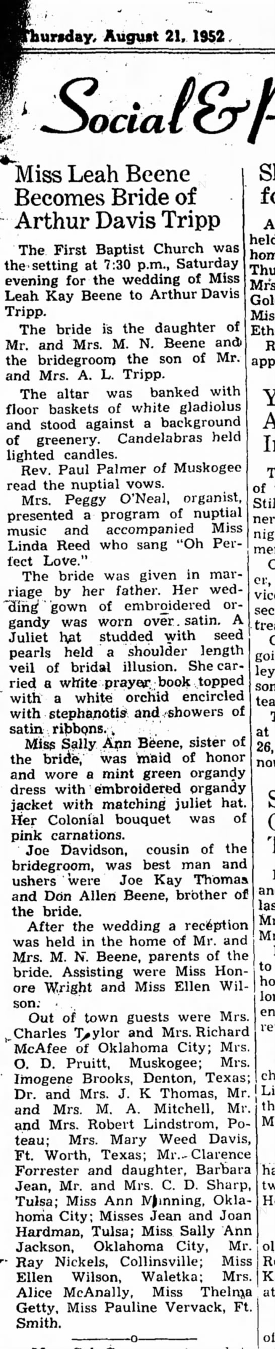 Beene Tripp Weding Stilwell Dem-Journ 21 Aug 1952 p 5 -