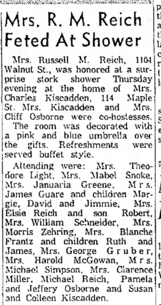 - Mrs. R. M. Reich Feted At Shower Mrs. Russell...