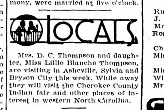 Mrs. D. C. Thompson and Lillie Blanche -