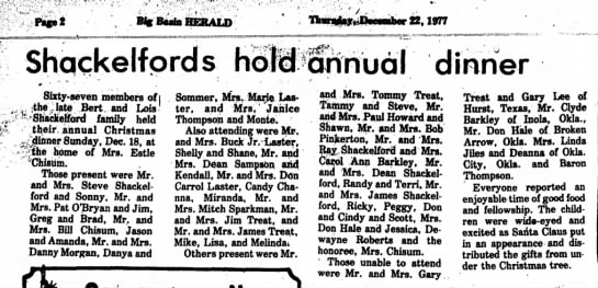 Bert Shackelford 2 - Fife 2 B% Baata HERALD llnrwkjr^Smabcr 22,1977...