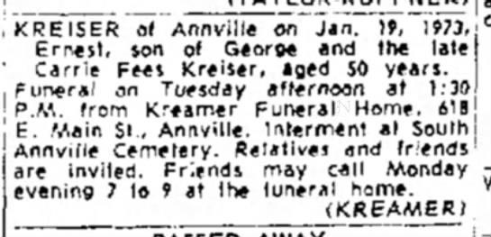 Ernie Kreiser funeral notice -