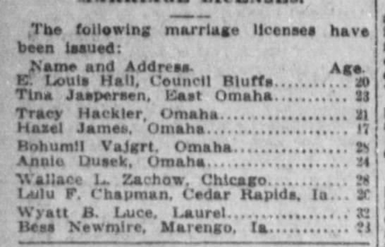 Bohumil Vajgrt 28 and Annie Dusek 24 issued marriage License Aug 13th 1913 -