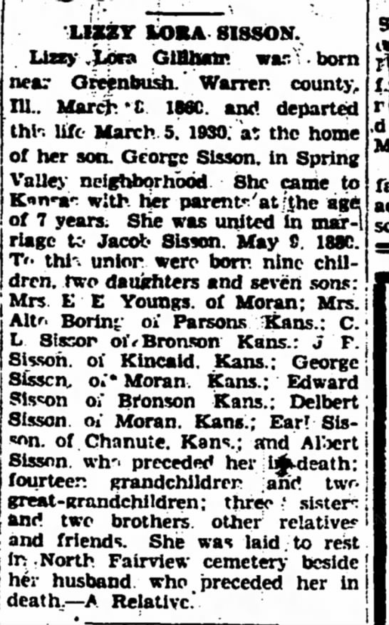 Elizabeth Lora Gillham Sisson obituary - The Iola Register 11 March 1930 page 2 -