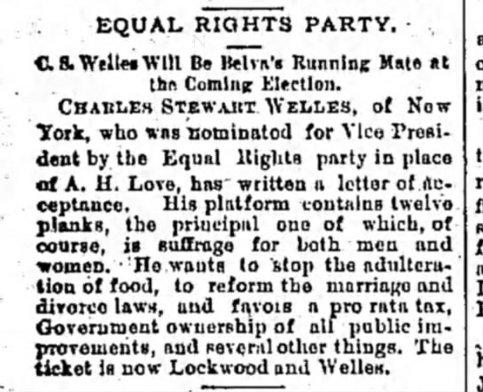Equal Rights Party Vice Presidential candidate for 1888 -