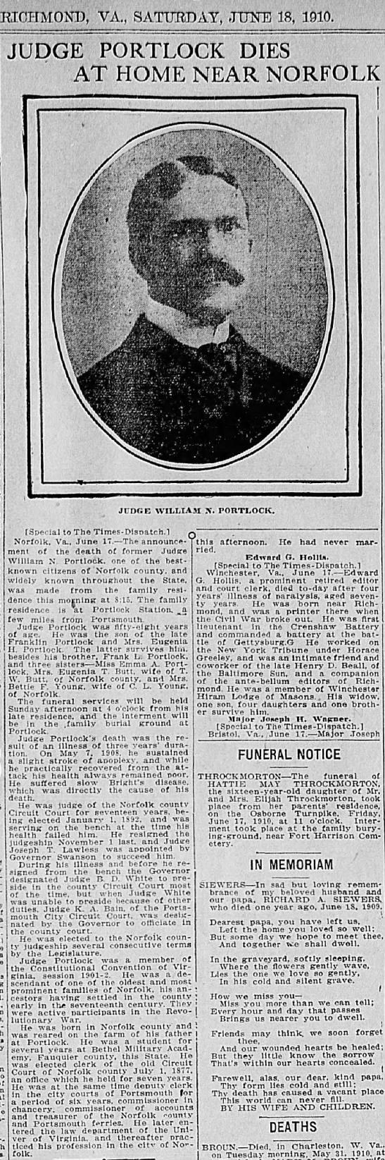 Portlock, Judge Wm Nathaniel;obit; The Times Disatrch, June 18, 1910, Sat. pg 3 -