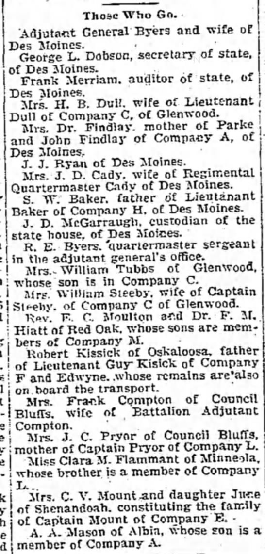 William Steeby, captain of Company C of Glenwood -