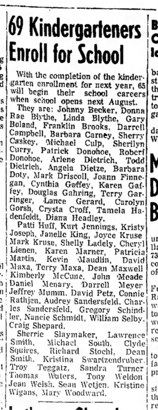 Becker, Johnny to be in kindergarden Feb1969 -