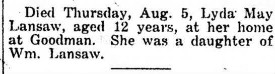 Lyda May Lansaw 12 died -