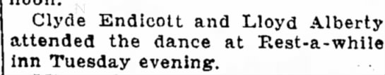 Lloyd Alberty Aug 13, 1924Joplin Globe - Clyde Endicott and Lloyd Alberty attended the...