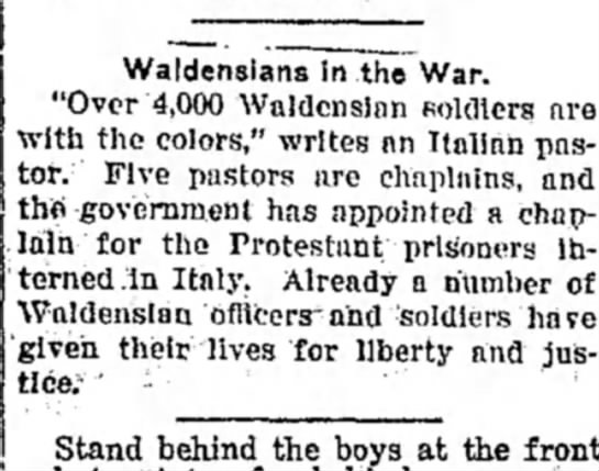 "Waldensians in the War, 4,000 Waldensian Soldiers, Record-Argus (Greenville, PA) 3 Aug 1918, p3 - Waldenslans In the War. ""Over 4,000 Waldenslnn..."
