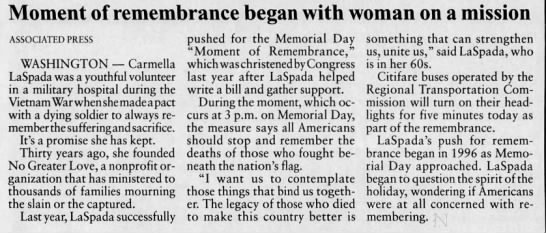 Memorial Day 3 pm Moment of Remembrance began in 2000 through efforts by Carmella LaSpada -