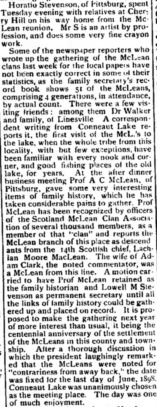 McLean reunion in 1897 - follow-up article -