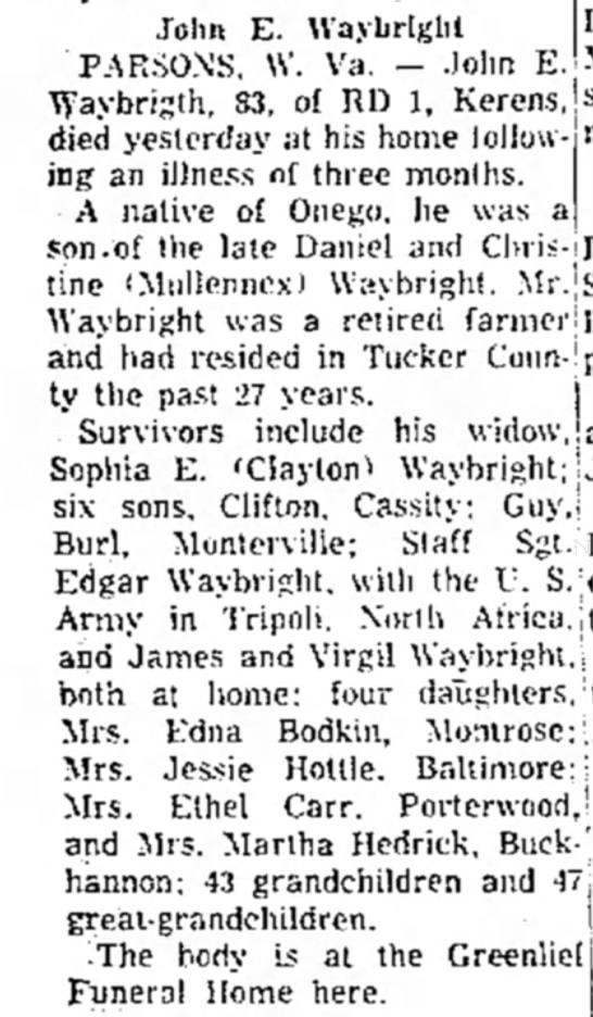 John Ed Waybright obituary -