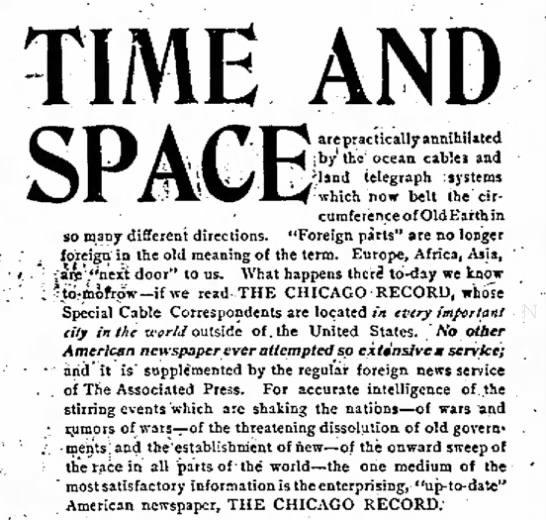 """TIME AND SPACE are practically annihilated by...ocean cables and land telegraph systems"" -"