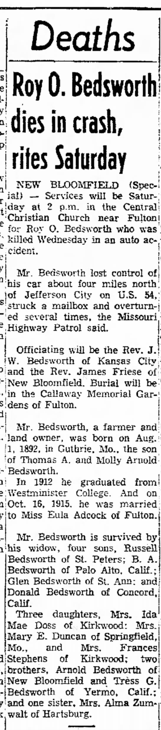 Roy O Bedsworth newspaper obituary - in) Deaths Roy 0. Bedsworth dies in crash,...