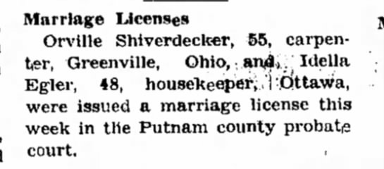 Shiverdecker, Orville - Marriage -